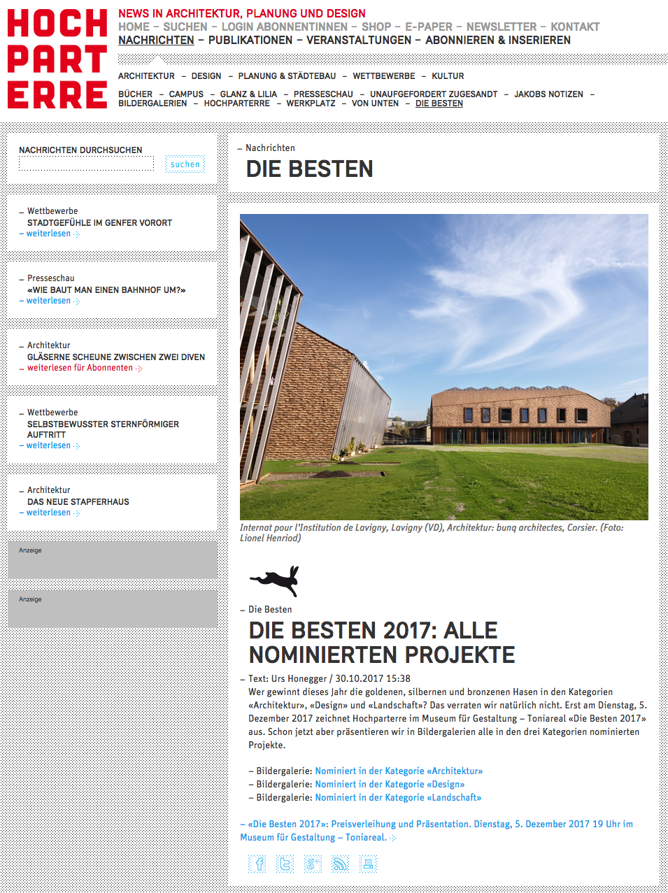 Hochparterre Goldhasen 2017 – finaliste