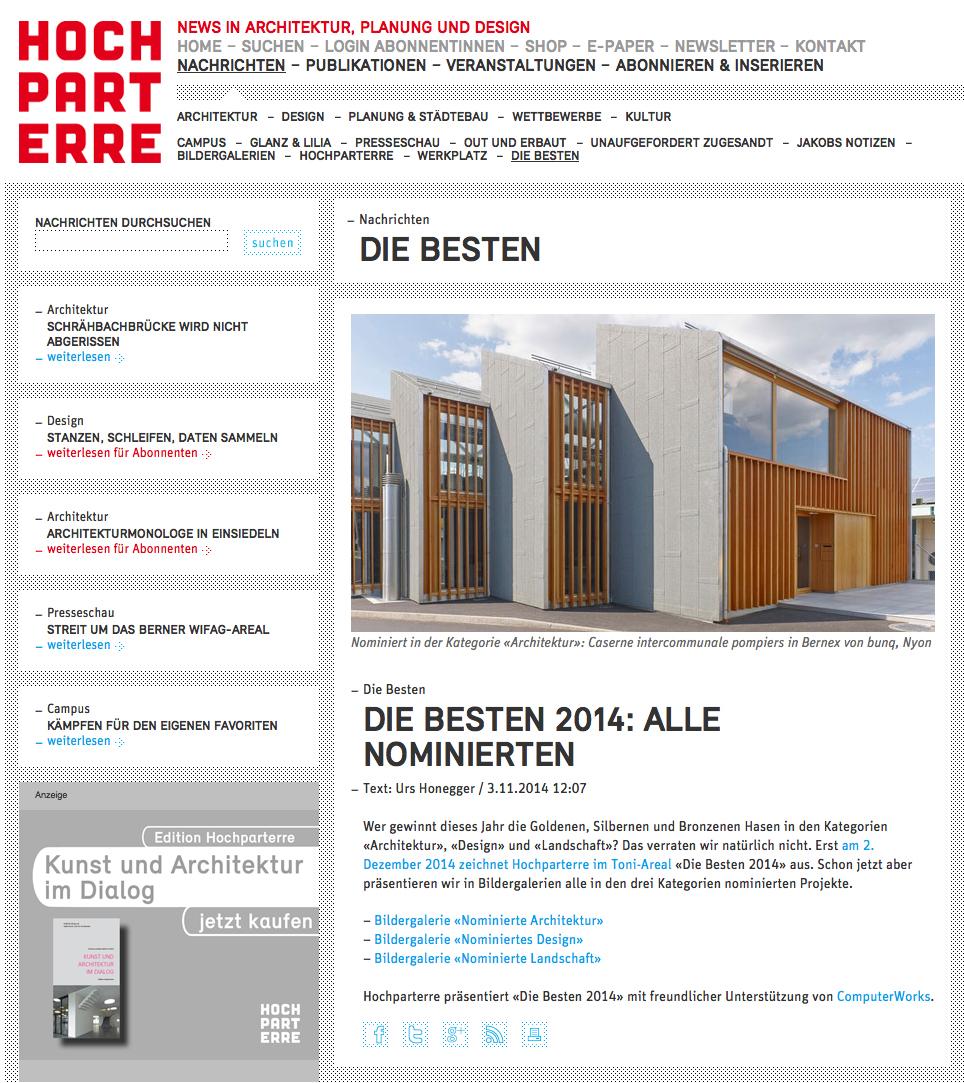 Hochparterre Goldhasen 2014 – finaliste